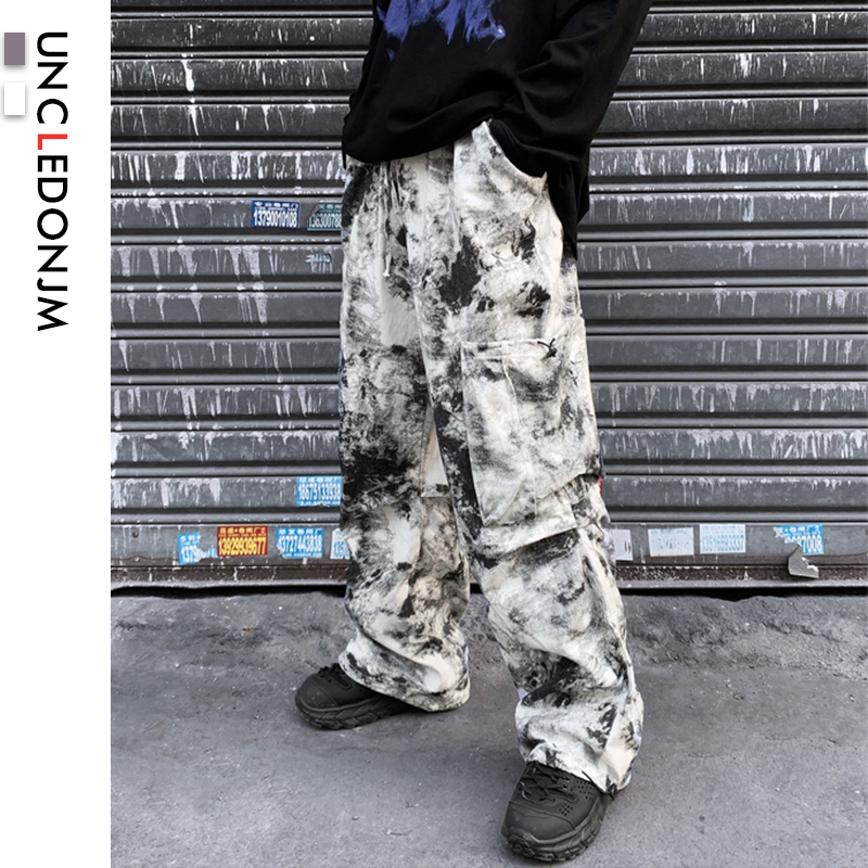 UNCLEDONJM Tie Dyed Cargo Pants Punk Style Hip Hop Vintage Retro Harem Pants Men Cargo Pants Loose Fit Track Trousers AN1957