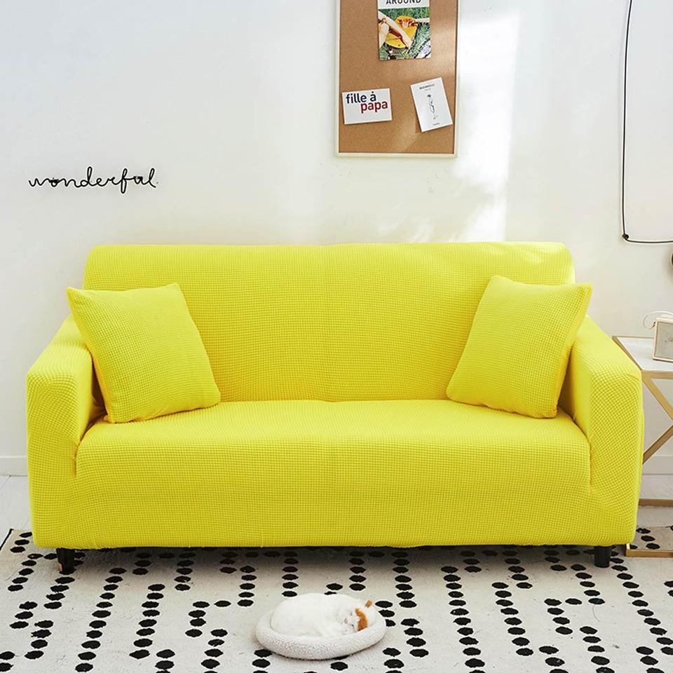 3d Quilted Simple Lemon Yellow Sofa Cover Slipcover Stretch Elastic Spandex Polyester Chair Loveseat L Shape Sofa Protector Sofa Cover Aliexpress