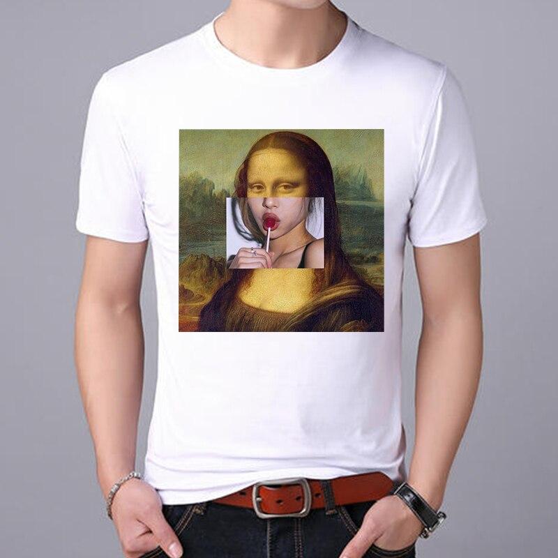 Los hombres de Lus camiseta Harajuku superior Mona Lisa divertida camiseta Retro de dibujos animados para hombres moda algodón casual ropa de Los hombres