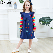 Dxton Girls Long Sleeve Dress Children Winter Clothing Rainbow Kids Dresses Butterfly Dress for Girls Baby Girl Clothes 2-8 Year miss haiwo fall kids dresses for girls pure cotton baby girl clothes stripes rainbow color girls long dress children s clothing