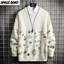 Knitted Sweater Pullover Jumper Harajuku Oversized Men Singleroad Winter Casual White