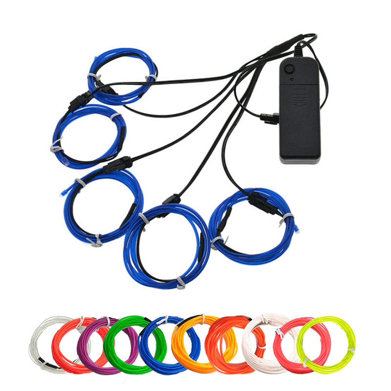 EL Wire neon light kits with portable AA Battery inverter <font><b>5</b></font> by <font><b>1</b></font> meter(3ft) wire for Parties Blacklight Run, DIY Decoration image
