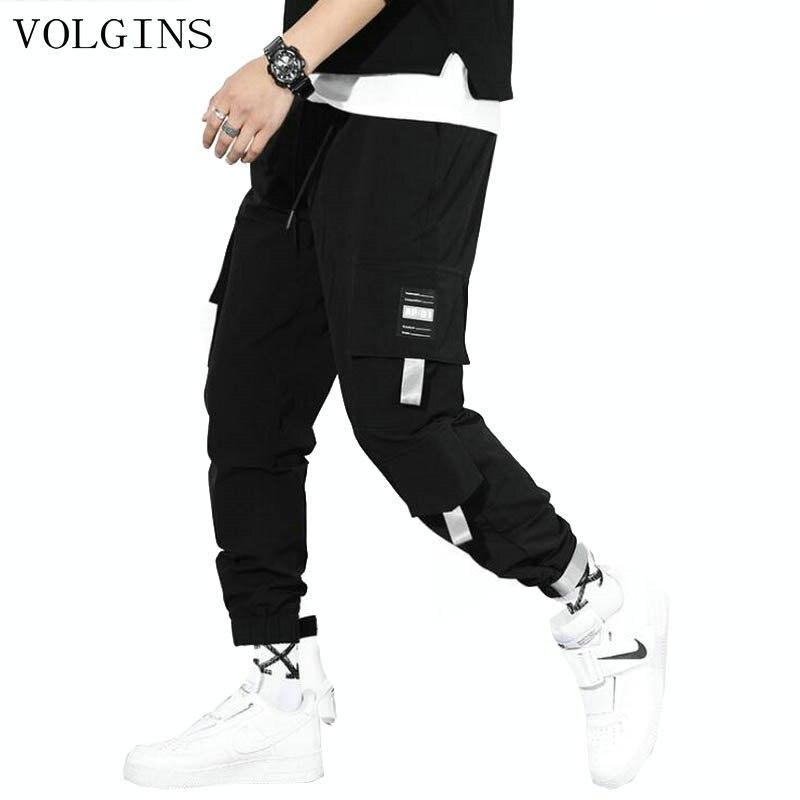 Streetwear Hip Hop Ribbons Cargo Pants Men Joggers Pants Men 2020 Fashion Mens Elastic Waist Pant Ribbons Cotton BlacK