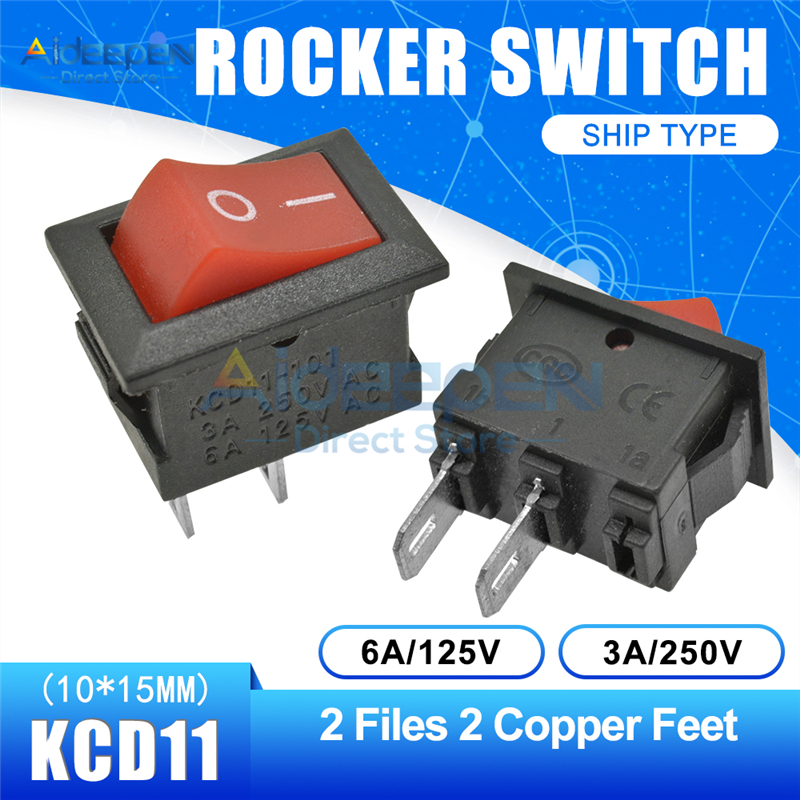 KCD11 10x15 мм кнопочный переключатель оснастка ВКЛ-ВЫКЛ 2 файла 3 файла 2/3 медные ножки лодка кулисный переключатель 10 мм* 15 мм 6A/125 В 3A/250 В - Цвет: Red 2-2P Straight
