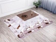 4pcs/set Kotatsu Set 1 Table 2 Futon 1Heater Nordic Design Oak Wood Japanese Furniture Living Room Casual Heated Tatami Table