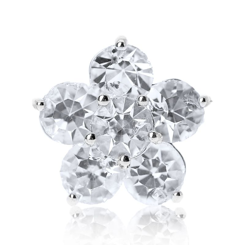 1Pc 1Pc 15mm Glitter Rhinestone Double Layer Five Petals Flower Shape Decorative Buttons With Metal Loop Shank Hole Sewing Clip