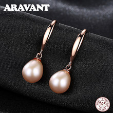 925 Sterling Silber Rose Gold Farbe Ohrringe Für Frauen Süßwasser Perle Ohrringe Hochzeit Schmuck Weiß Rosa Lila