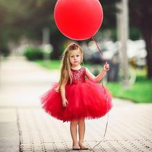Новинка для маленьких девочек год красное рождественское платье, платье принцессы для девочек платье с блестками и цветком Свадебная вечеринка платье Одежда для девочек, пачка ко Дню Святого Валентина