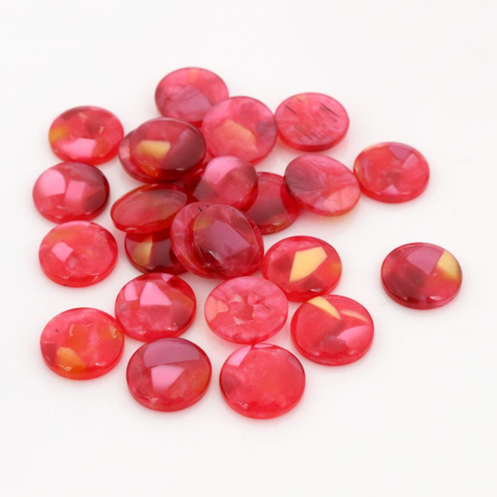 New Fashion 40pcs 12mm Red Colors Built-in Shell Flat Back Resin Cabochons Cameo-V5-15