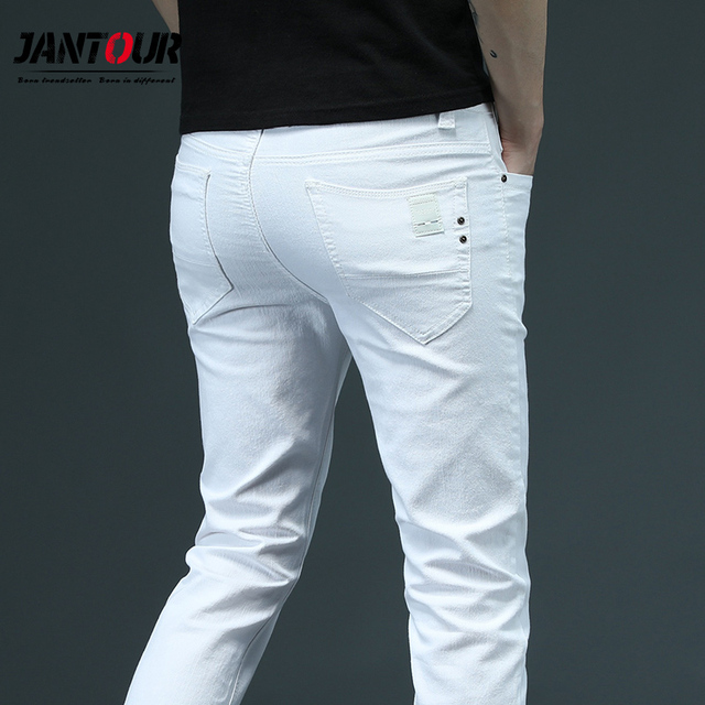 2020 New Classic Style Summer Men's White Skinny Jeans Fashion Casual Business Stretch Denim Trousers Male Brand Pants 28 38