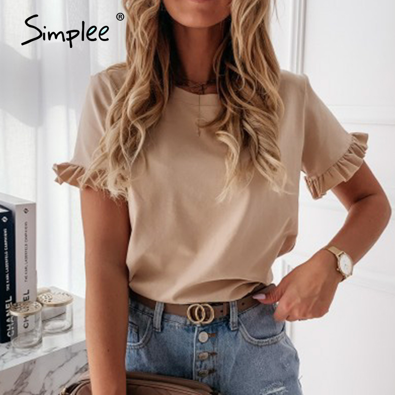 Simplee casual ruffles short sleeve plus size t shirts women Fashion solid loose t shirt spring summer all-match top ladies 2020