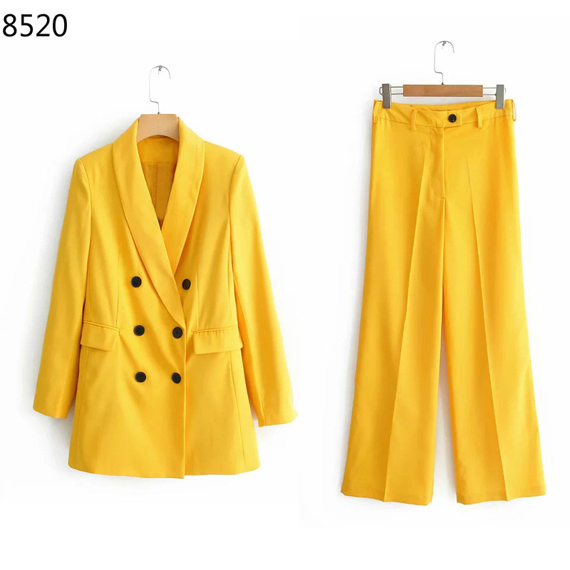 New Fashion Work Pant Suit OL 2 Piece Sets Slim Work Wear Office Ladies Long Sleeve Yellow Blazer Jacket Oversized Trousers Suit