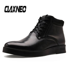 CLAXNEO Man Boots Autumn Winter Male Leather Shoes Genuine Mens Shoe Ankle Boot Big Size