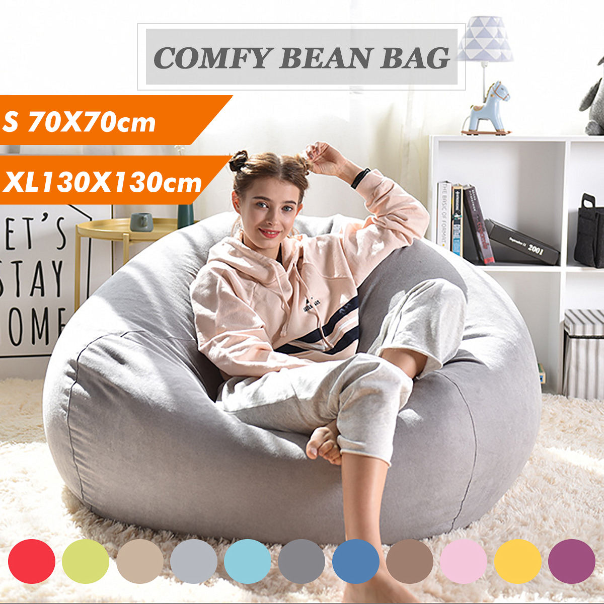 2 Sizes 11 Colors Lazy Sofas Cover Chairs Without Filler Linen Cloth Lounger Seat Bean Bag Pouf Puff Couch Tatami Living Room