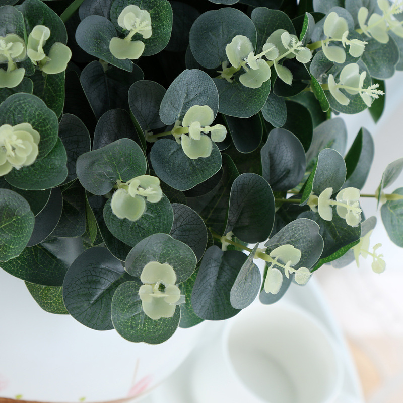 15pcs Green Artificial Leaves Large Eucalyptus Leaf Plants Wall Material Decorative Fake Plants For Home Shop Garden Party Decor