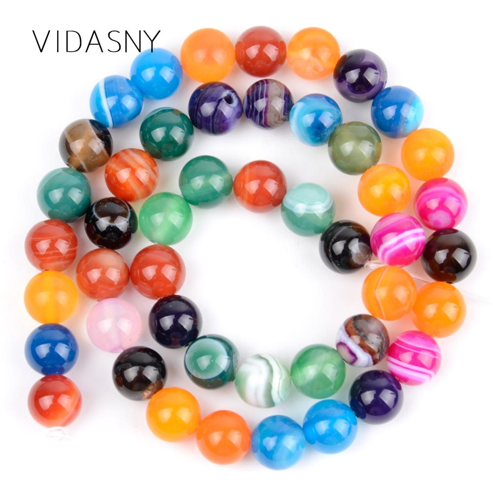 Multicolor Stripe Agates Natural Stone Beads For Jewelry Making 4 6 8 10 12mm Round Spacer Beads Diy Bracelet Necklace 15inch in Beads from Jewelry Accessories