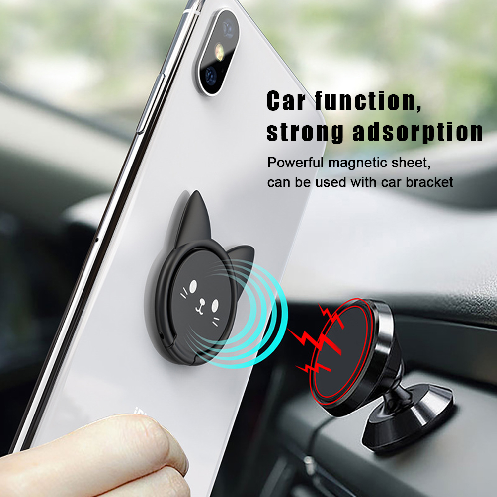 360 Electroplating Magnetic Ring Bracket Universal Car Cute Kitten Mobile Phone Bracket Ring Buckle For IPhone X Pad For Xiaomi
