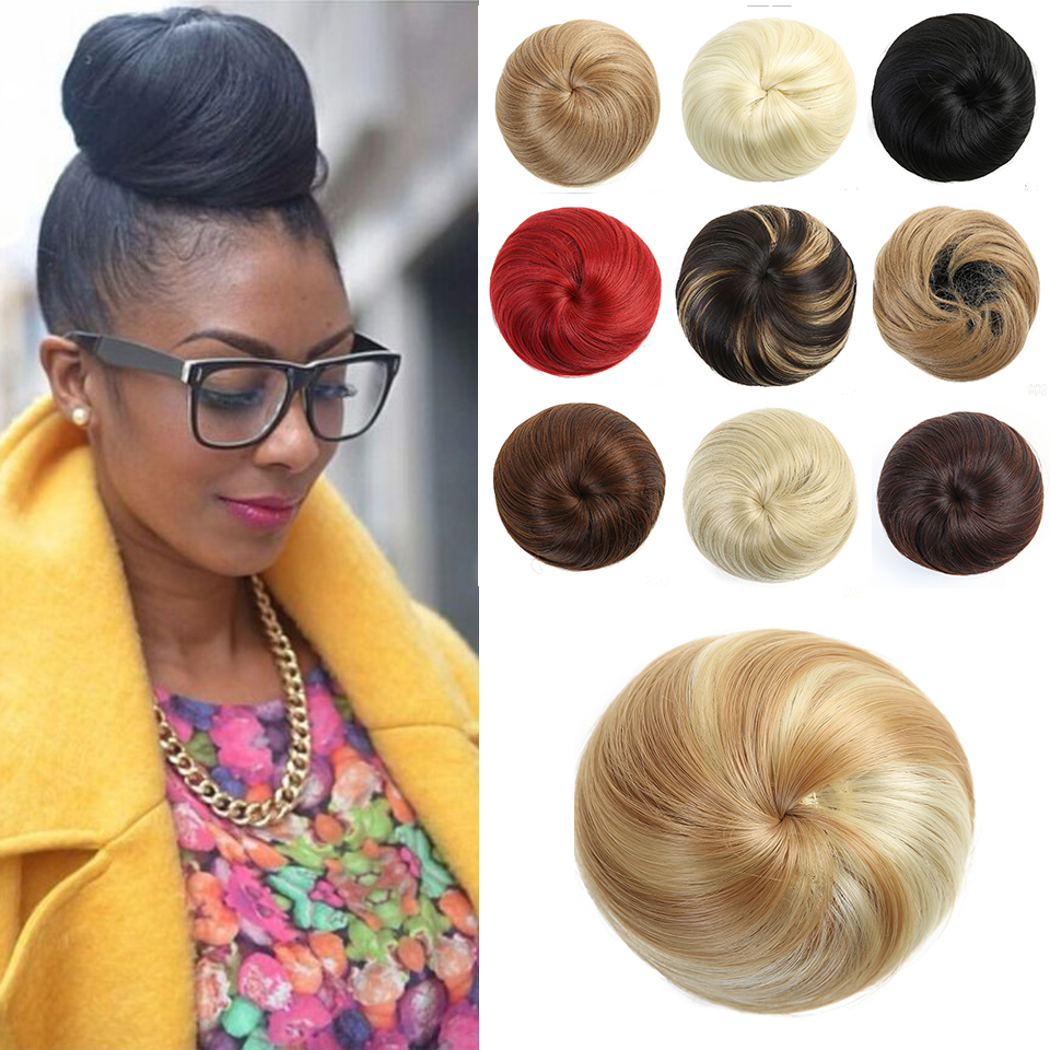 Lupu Women's Hair Accessories Short Straight Stretch Synthetic Donut Hair Extension Ponytail Extension Chignon Extension