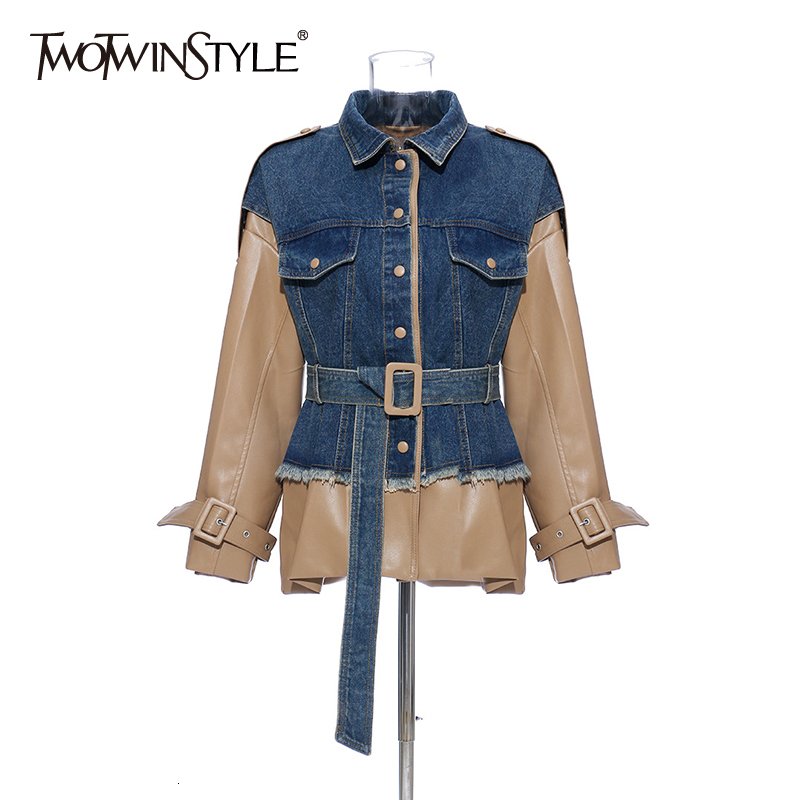 TWOTWINSTYLE Patchwork Hit Color Denim Coats Female Lapel Collar Long Sleeve High Waist Jackets For Women 2020 Fashion Clothing