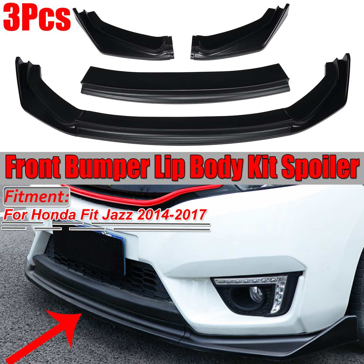 New 3piece Car Front Bumper Lip Body Kit Diffuser Protector Spoiler Splitter Lip Guard For Honda For Fit For Jazz 2014-2017