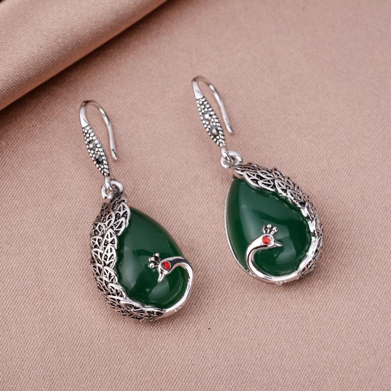 HuiSept Fashion Silver 925 Women Drop Earrings Emerald Gemstones Peacock Shaped Jewelry Ornaments Earrings for Wedding Wholesale