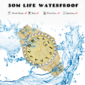 Image 4 - MISSFOX relojes con números arábigos para hombre, reloj de lujo de marca superior, oro de 18k, Diamante grande con Canlender, Reloj clásico para hombre Iced Out