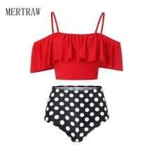 Swimsuit Women Bikini 2019 Mujer High Waist Swimwear Ruffle Lady Tankinis Bath Set Biquini