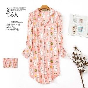 Image 5 - 여성 나이트 셔츠 스트라이프 나이트 드레스 폴카 도트 나이트 가운 슬리핑 셔츠 슬리퍼 코튼 슬리퍼 나이트 가운 슬리퍼