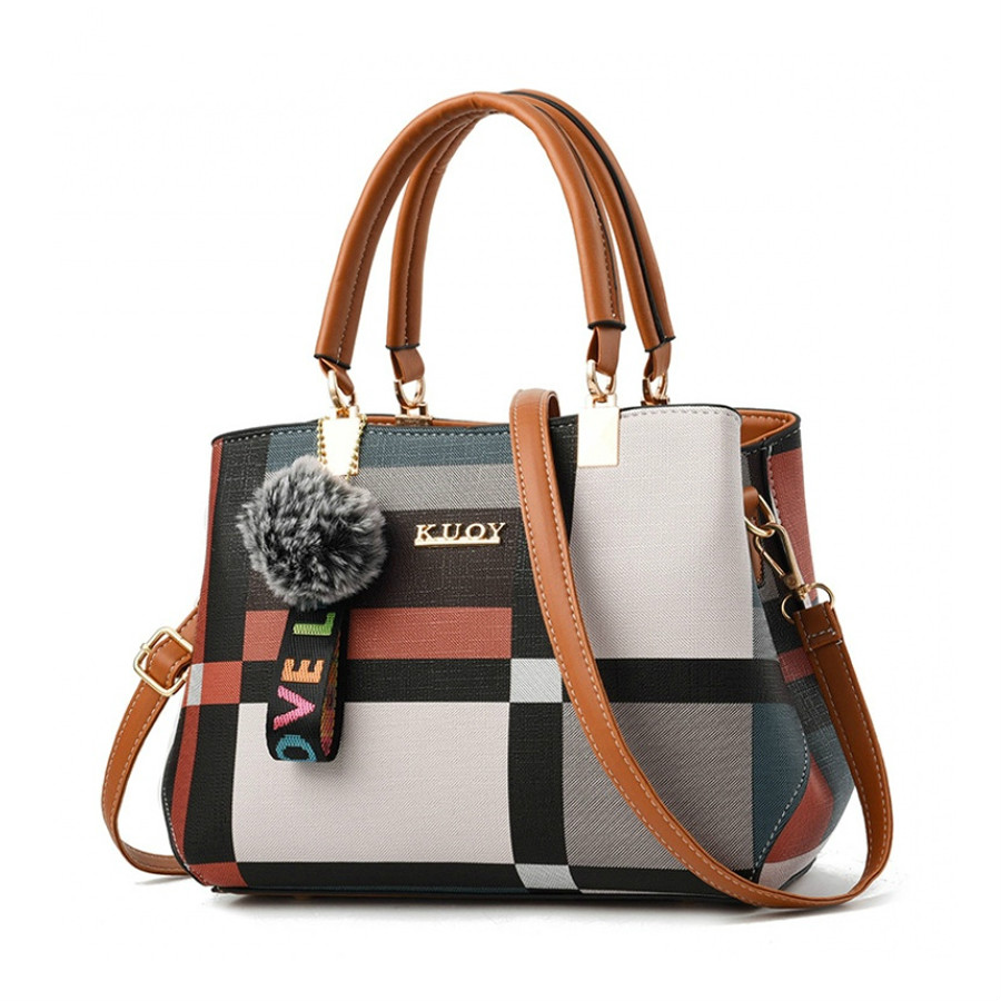 Valenkuci New Casual Plaid Shoulder Bag Fashion Stitching Wild Messenger Brand Female Totes Crossbody Bags Women Leather Handbag