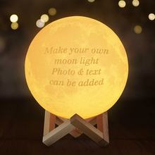 Customized Moon Lamp 3D Print Moon Light LED Night Light DIY Photo Text Rechargeable luminaria Dimmable Night Lamp Decor Gift