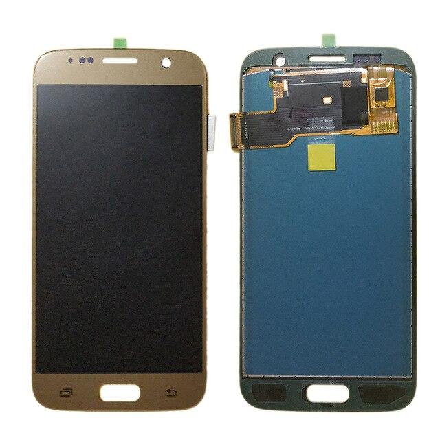 サムスンギャラクシー S7 G930 G930F tft lcd ディスプレイタッチスクリーンデジタイザアセンブリ tft lcd 調節可能な輝度交換部品