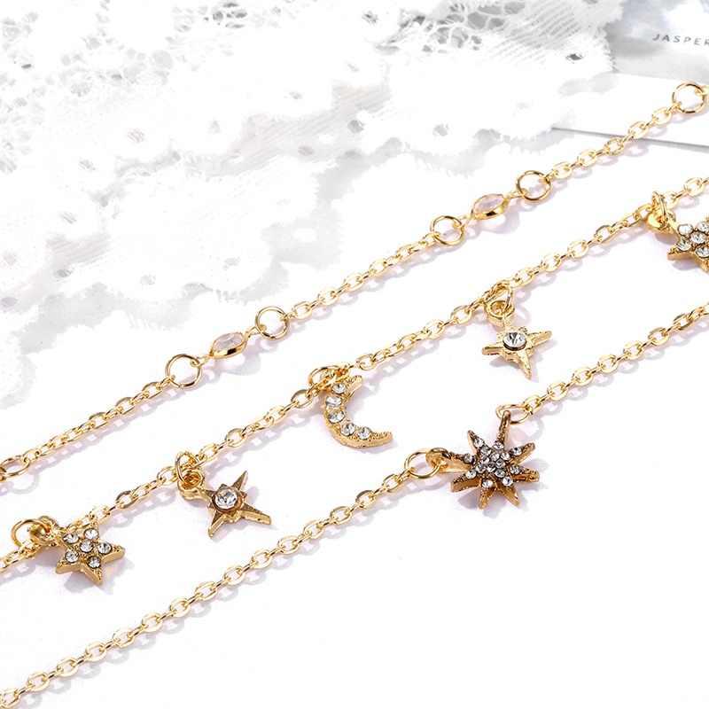 KISSWIFE moda wisiorek naszyjniki Pentagram gwiazda księżyc kryształ złoty łańcuch wielowarstwowy naszyjnik kobiety urok Party biżuteria