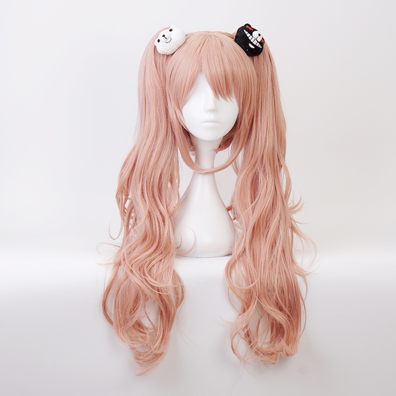 Dangan Ronpa Danganronpa Enoshima Junko Pink Long Synthetic Hair Cosplay Costume Wig + Bear Hairpins + Wig Cap