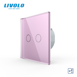 Image 5 - Livolo EU Standard Touch Switch, 2Gang 2Way Control, 7colors Crystal Glass Panel,Wall Light Switch,220 250V,C702S 1/2/3/5