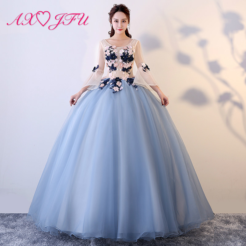 AXJFU luxury princess grey lace bride   evening     dress   vintage o neck beading flare sleeve flower host ball gown blue   evening     dress