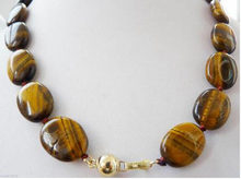 13x18mm Yellow natural tiger'eye oval Gemstone necklace 20inch(China)