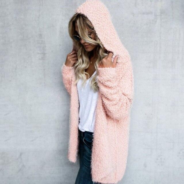 Фото женское вязаное пушистое пальто с длинным рукавом кардиган свитер цена