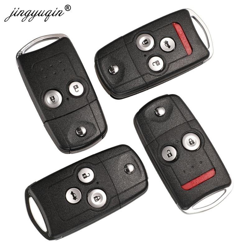 Jingyuqin 2/3/4 botões do carro da aleta remoto chave escudo fob apto para honda acura civic accord jazz crv hrv caso chave habitação substituição