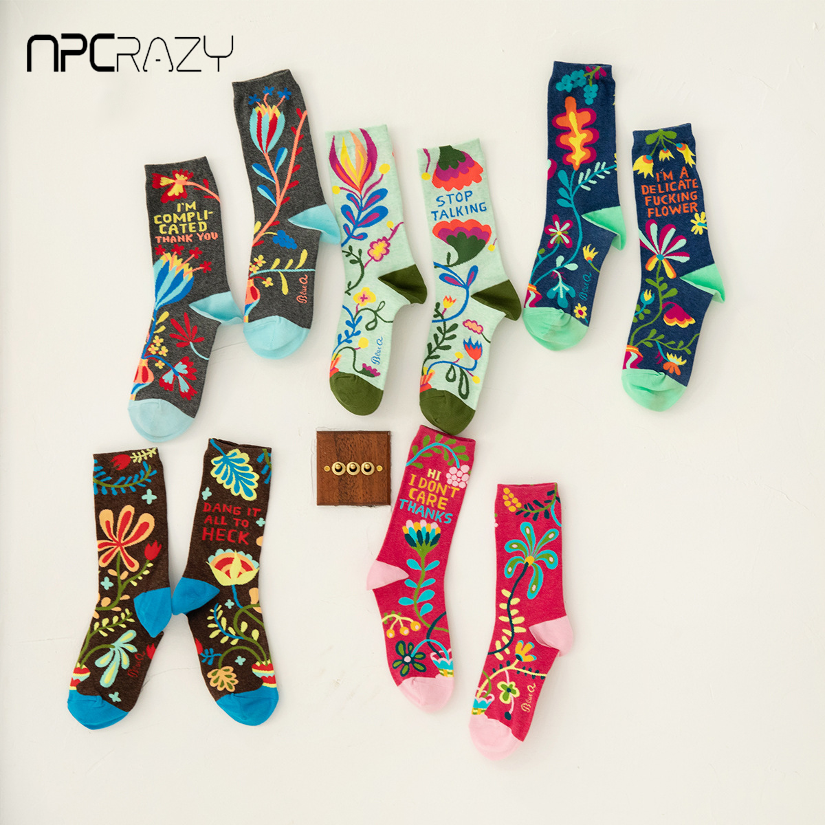 New Spring Plant Vine Flower Women Socks Pure Cotton Japanese Korean Style Harajuku Socks Women Colorful Happy Skarpetki