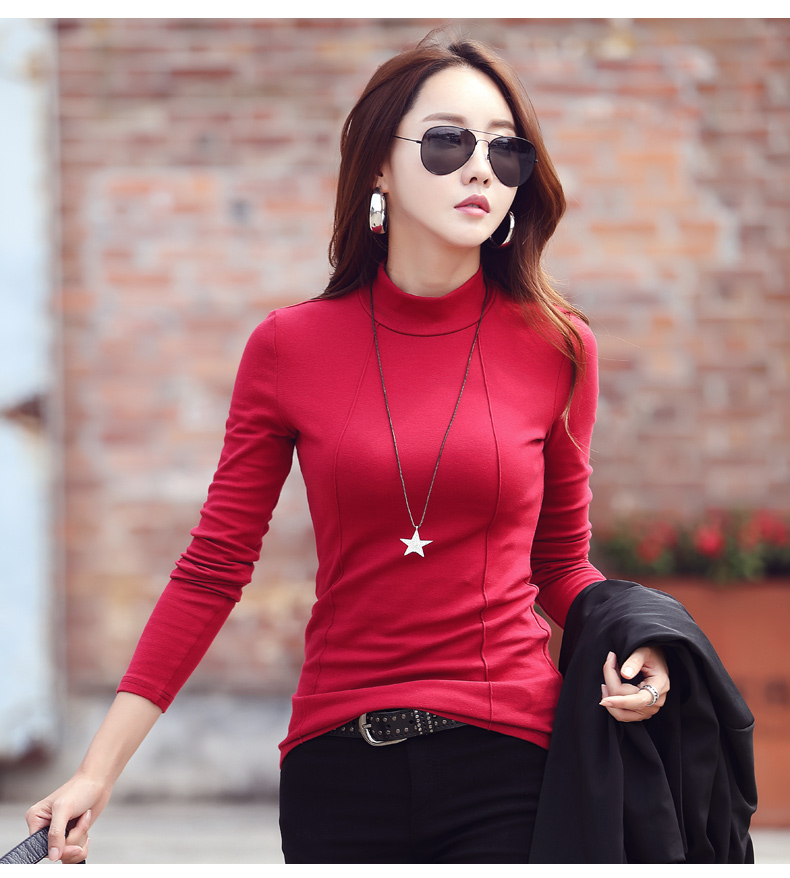 2019 Half A Turtleneck Sweater Dress Long Sleeve T-shirt Inside A Cultivate One's Morality Joker On Clothes