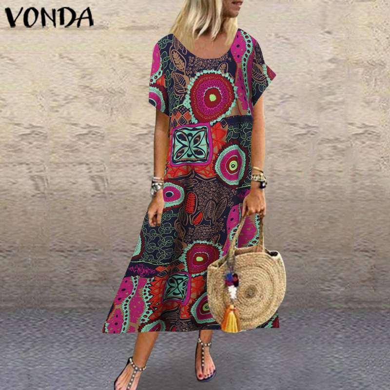 Women Cotton Linen Dress Vintage Printed Maxi Long Dress VONDA 2020 Summer Sundress Casual Robe Plus Size Vestido S-5XL