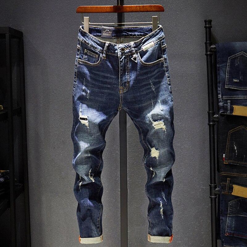 Autumn Jeans Men Fashion Casual Slim-type Denim Pants 2019 New Zipper Button Pocket Hole Bleached Young Men Denim Trousers