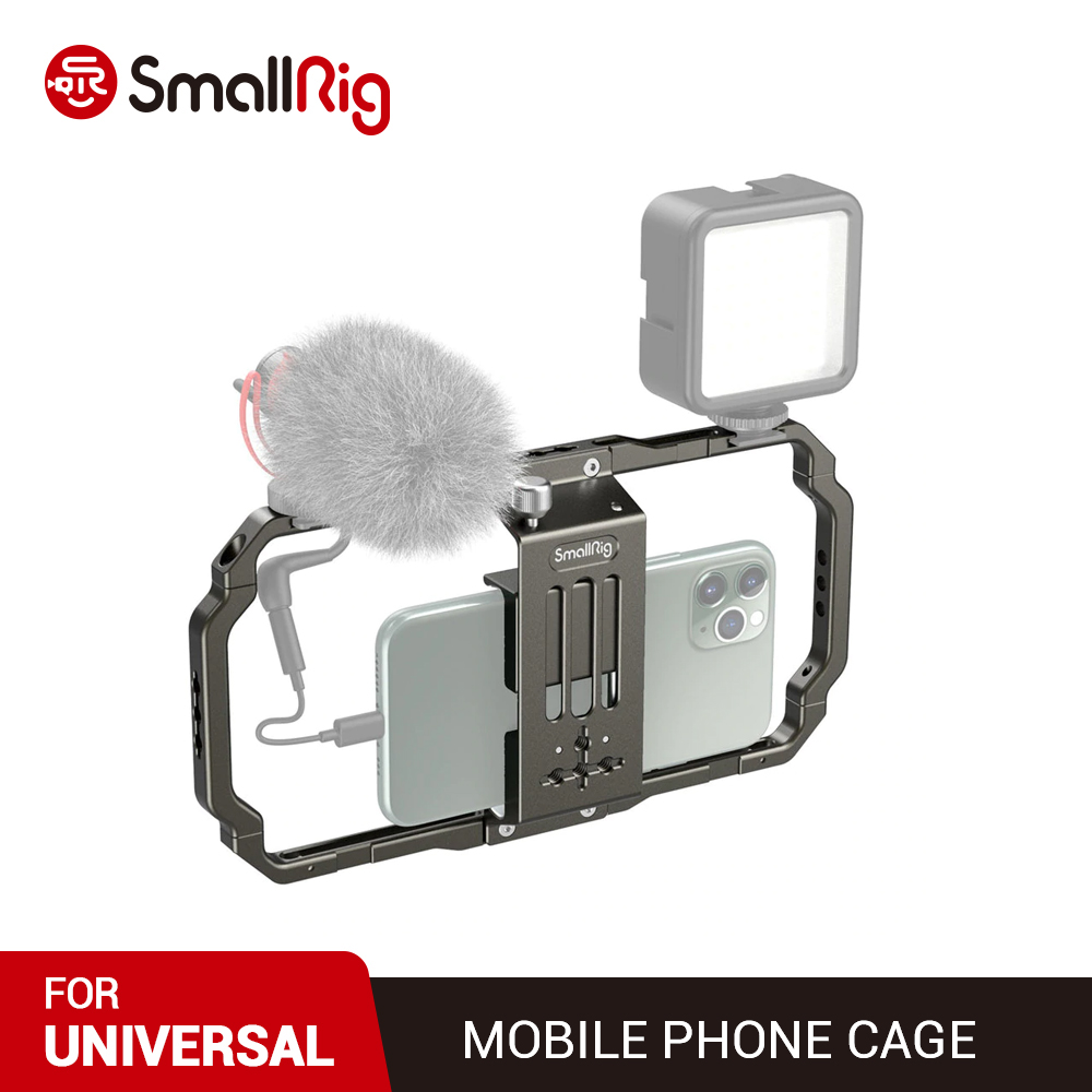 SmallRig Universal Mobile Phone Cage Video Vlogging Rig for  live streaming Attach like a microphone a LED light a tripod 2791