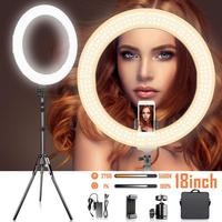 BiColor Dimmable ring Lamp 18 inch LED Ring Light 2700 5500K Color Temperature photography ringlight lamp for YouTube Portrait
