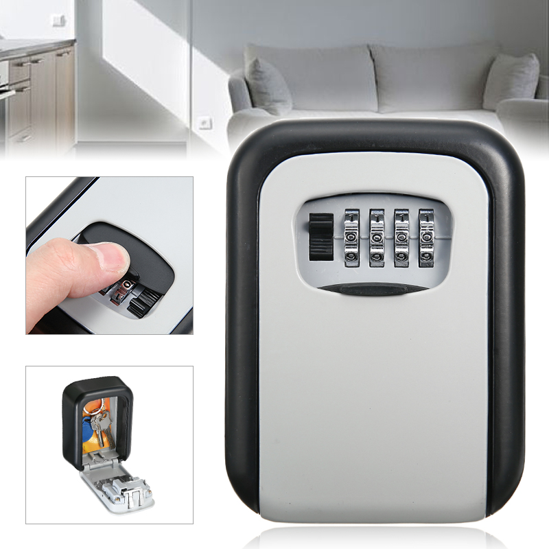 1pc 4 Digit Combination Key Lock Box Aluminum Wall Mounted Key Lockbox With Code For House Key Storage Security Protection