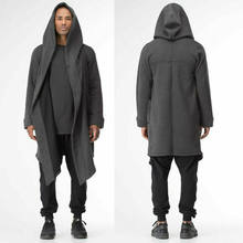 Men Clothing Outwear Winter Unisex Casual Open Stitch Hooded Long Cloak Cape Coat Men Women Solid Pocket Loose Clock Coat(China)