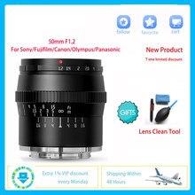 TTArtisan Micro objectif appareil Photo reflex 50mm F1.2 pour Sony E Canon Fujifilm Olympus Panasonic Kit Studio Photo professionnel