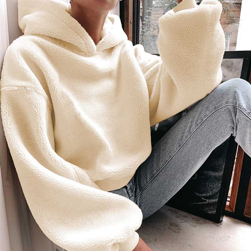 Nadafair Shaggy Long Sleeve Oversized Hoodie Winter Plush Pullover Sweatshirt Faux Fur Fluffly Hoodies Women