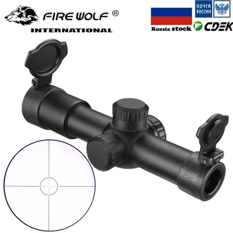 FIRE WOLF 4.5x20 E Mil-Dot Riflescope Hunting Rifle Scope Red Illuminated AK47 AK74 AR15 Riflescope With Flip-open Lens Caps image