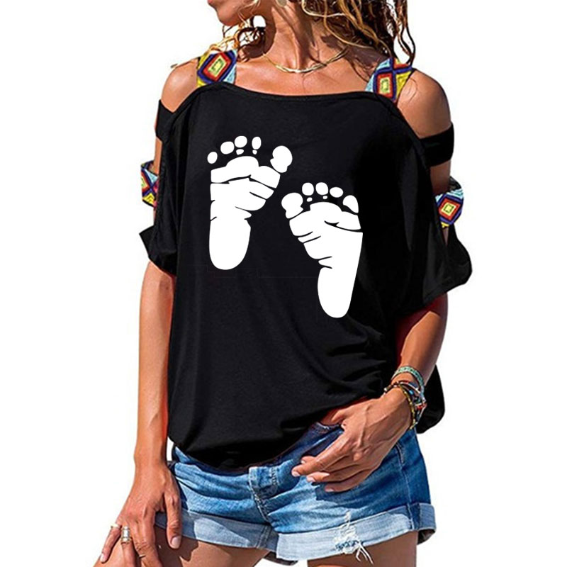 Cute Baby Cartoon Little Feet Women Tshirt Cotton Casual Funny T Shirt Girl Short Sleeve Sexy Hollow Out Shoulder Top Tee